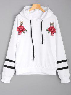 Floral Appliques Striped Hoodie - White L
