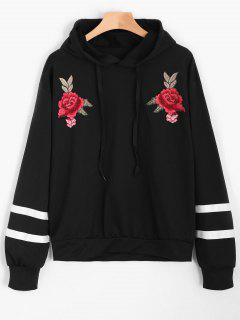 Floral Patched Striped Drawstring Hoodie - Black L