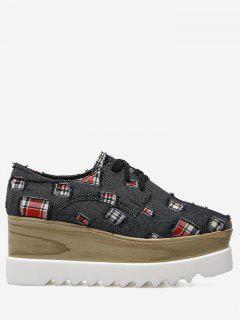 Plaid Denim Square Toe Wedge Shoes - Black 40