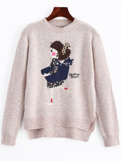 Heathered Cartoon Patched High Low Sweater - Apricot