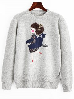 Heathered Cartoon Patched High Low Sweater - Gray