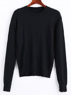 Long Sleeve Frayed Poullover Sweater - Black L