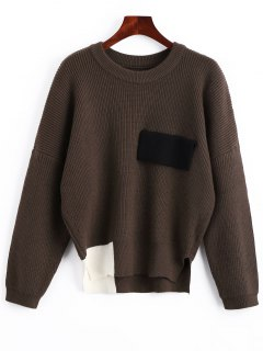 Color Block Oversized Side Slit Sweater - Coffee