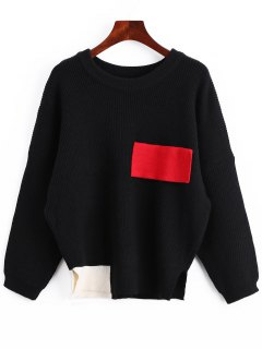 Color Block Oversized Side Slit Sweater - Black