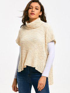 Sheer Turtleneck High Low Sweater - Off-white