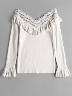 V Neck Ruffles Flare Sleeve Knitted Top - Blanc