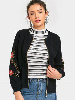 Floral Embroidered Zip Up Cardigan - Black