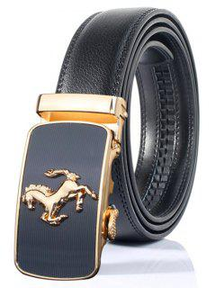 Stylish Horse Shape Emboss Automatic Buckle Wide Belt - Black