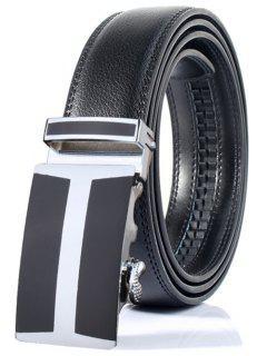 Cinturón Ancho De Hebilla Automática Forma H Simple   - Negro