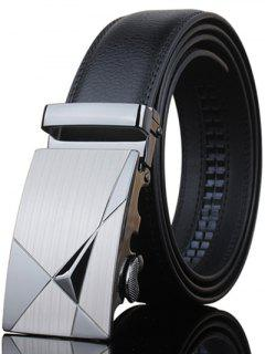 Stylish Triangle Shape Embellished Metal Buckle Black Wide Belt For Men - Black