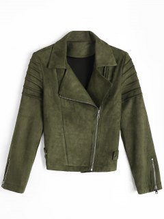 Faux Suede Asymmetric Zipper Jacket - Army Green M