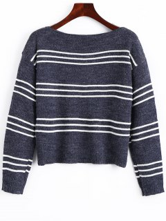 Long Sleeve Stripes Pullover Sweater - Stripe