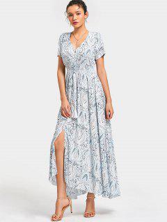 Knopf Oben Bedruckte Quasten Maxi Kleid - Weiß S