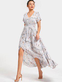Front Slit Printed Tassels Maxi Dress - White L