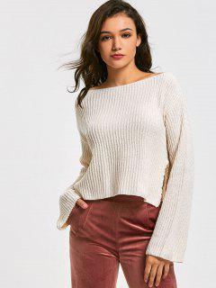 Cropped Side Slit Oversized Sweater - Off-white
