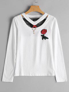 T-shirt Brodé Floral à Araignée Patché  - Blanc M