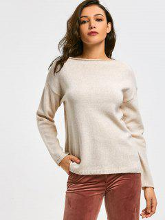 Drop Shoulder Slash Neck Pullover Sweater - Light Apricot