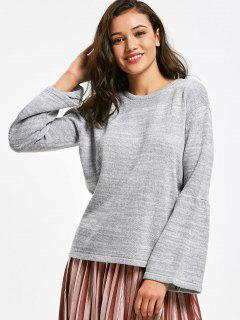 Flare Sleeve Heathered Pullover Sweater - Gray