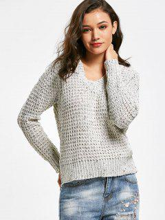 Sheer V Neck Pullover Sweater - Light Gray