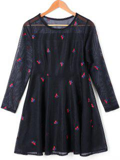 See Thru Embroidered A Line Overlay Dress - Black S
