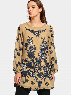 Flower Print Long Sleeve Swing Blouse - Floral L