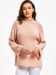Pullover Mit Raglan Hülse Und Mock Neck  - Pink