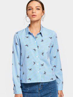 Button Up Bird Print Striped Shirt - Light Blue M