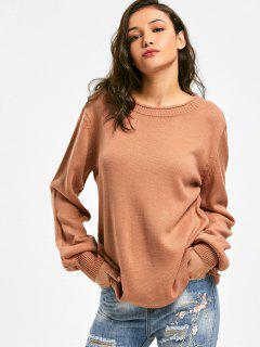Long Sleeve Oversized Pullover Sweater - Orange Brown