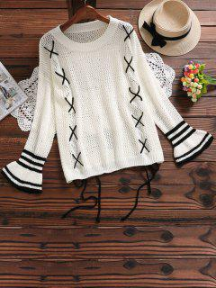 Lace Up Hollow Out Flare Sleeve Sweater - Off-white