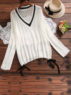 Self Tie Hollow Out Knitted Top - White