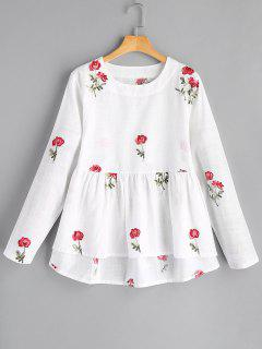 Round Collar Flower High Low Blouse - White S