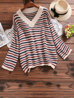 V Neck Side Slit Striped Sweater - Bleu Foncé