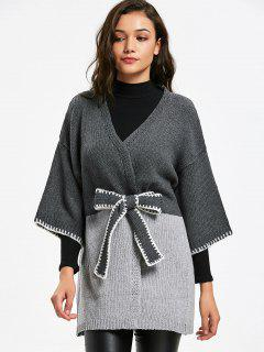 Belted Long Two Tone Cardigan - Gray