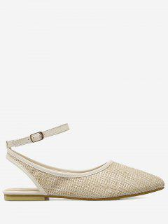 Slingback Straw Ankle Strap Flat Shoes - Apricot 39