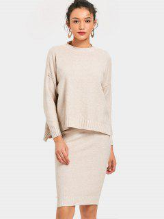 Side Slit Pullover Sweater And Knitted Pencil Skirt - Apricot