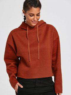 Fleeced Cropped Hoodie - Brick-red S