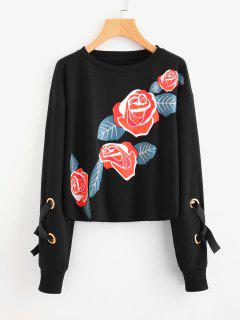 Crew Neck Floral Print Sweatshirt - Black S