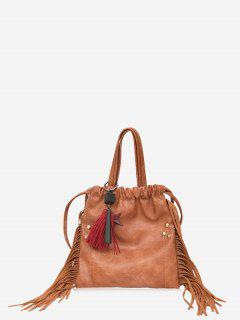 String Fringe Rivet Handbag - Brown