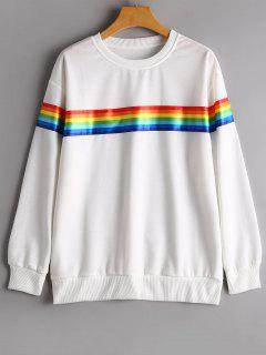 Drop Shoulder Striped Sweatshirt - White