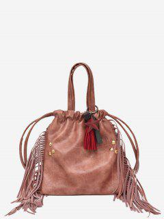 String Fringe Rivet Handbag - Pink