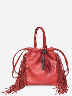 String Fringe Rivet Handbag - Red
