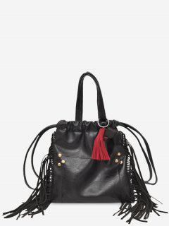 String Fringe Rivet Handbag - Black
