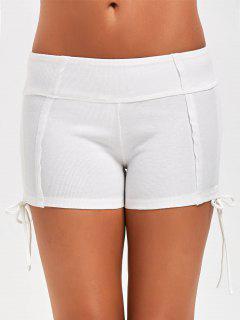 Side Drawstring Sports Shorts - White M