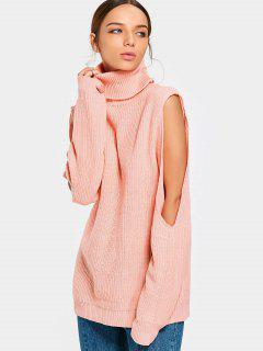 Cut Out Sleeve Turtleneck Sweater - Orangepink