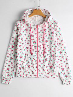 Floral Graphic Zip Up Hoodie - White M