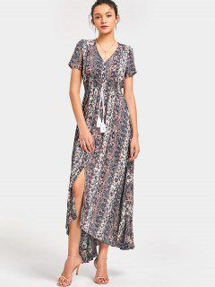 Button Up Floral Quasten Maxi Kleid - Blumen L