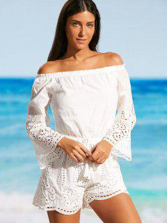 Laser Cut Off Shoulder Beach Romper - White S
