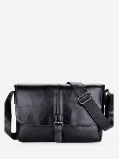 PU Leather Buckle Strap Crossbody Bag - Black