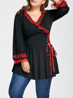 Plus Size Lace Up Flare Sleeve Surplice Blouse - Black 4xl