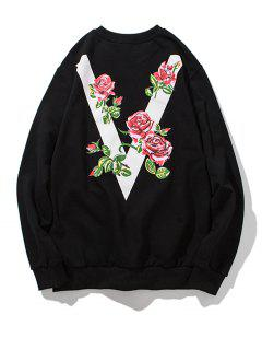 Floral V Print Crew Neck Sweatshirt - Black 4xl